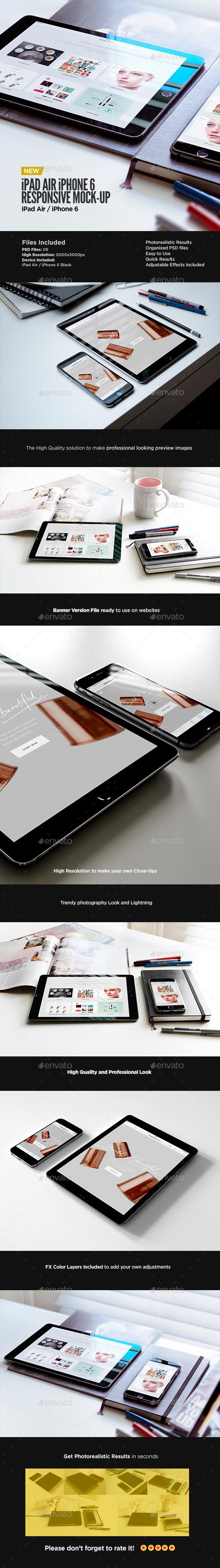Tablet iPad Air iPhone 6 Black Display Mock-Up  - Displays Product Mock-Ups