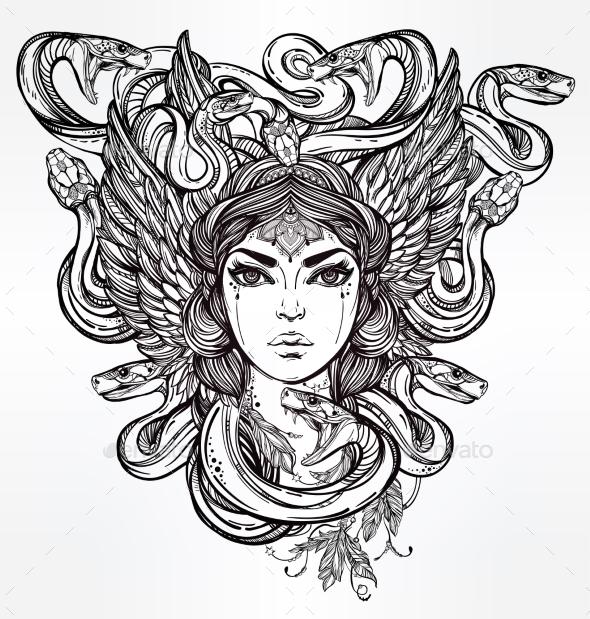 Mythological medusa portriat illustration by itskatjas for Medusa da colorare