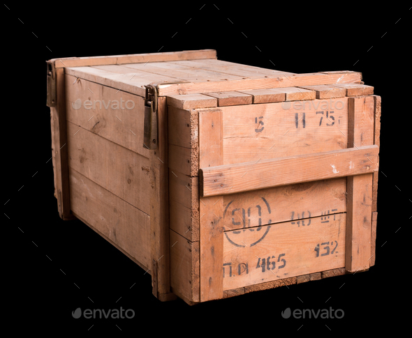 Old military wooden box - Stock Photo - Images