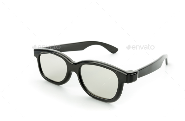 Black eye glasses isolated on white - Stock Photo - Images