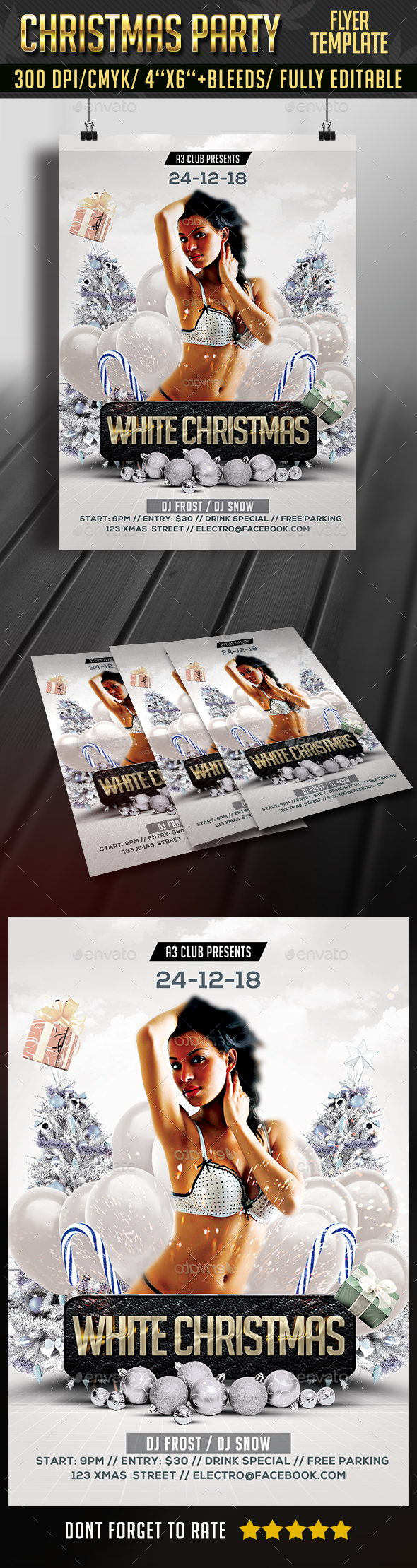 White Christmas Flyer - Clubs & Parties Events