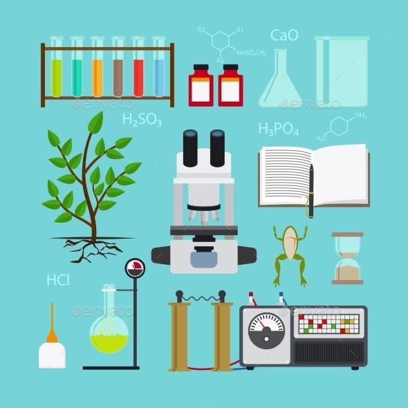 Biology Laboratory Icons - Health/Medicine Conceptual