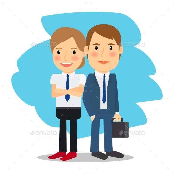 Business Partners Man and Woman - People Characters