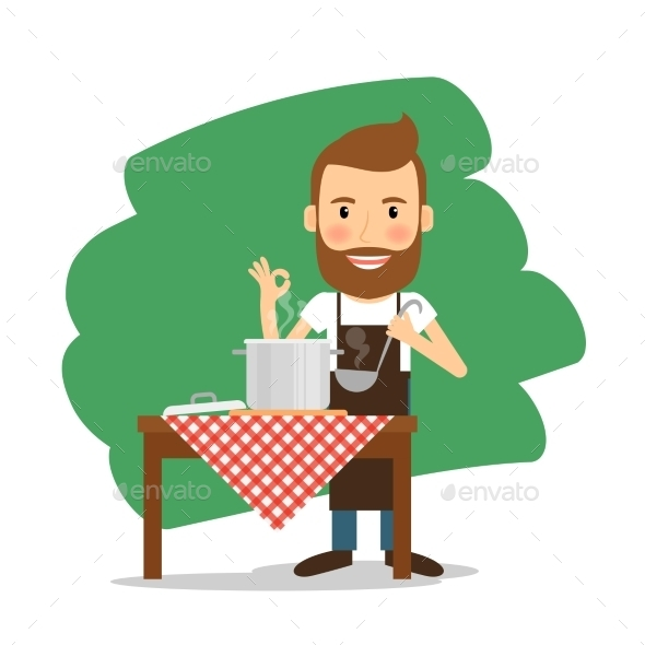 Man Cooking at Home - People Characters