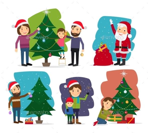 Merry Christmas Decorating The Christmas Tree - Seasons Nature