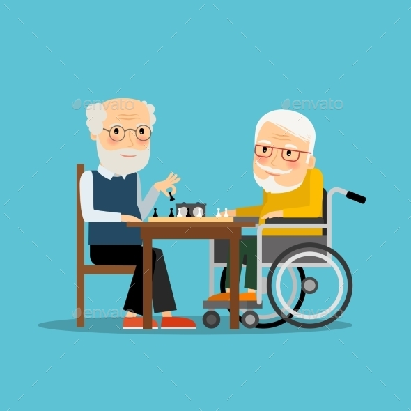 Two Old Men Playing Chess - Sports/Activity Conceptual