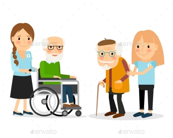 Caring for Seniors - People Characters