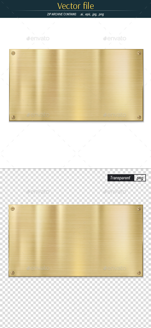 Vector Golden Metal Plate with Texture - Backgrounds Decorative