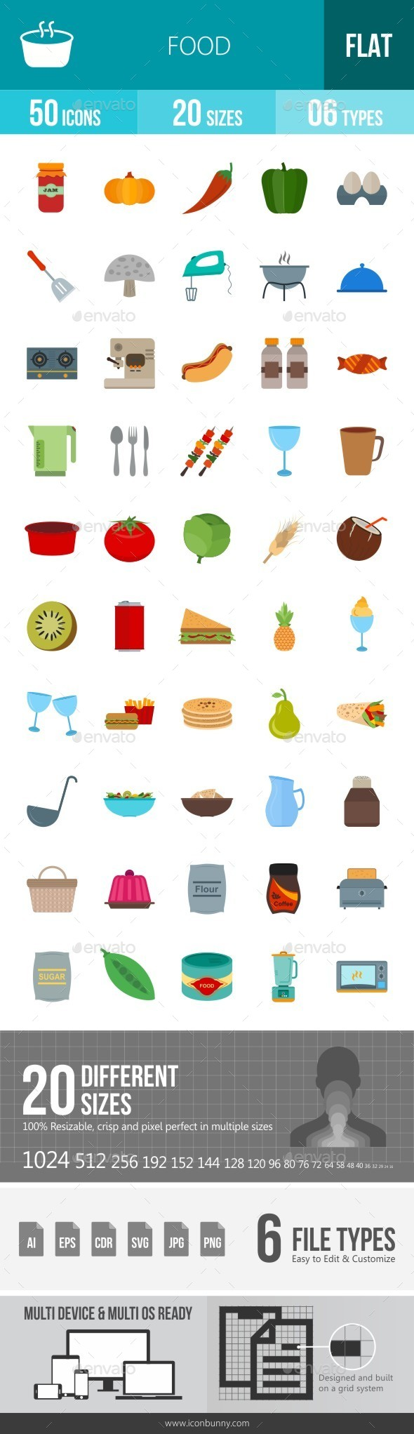 Food Flat Multicolor Icons - Icons