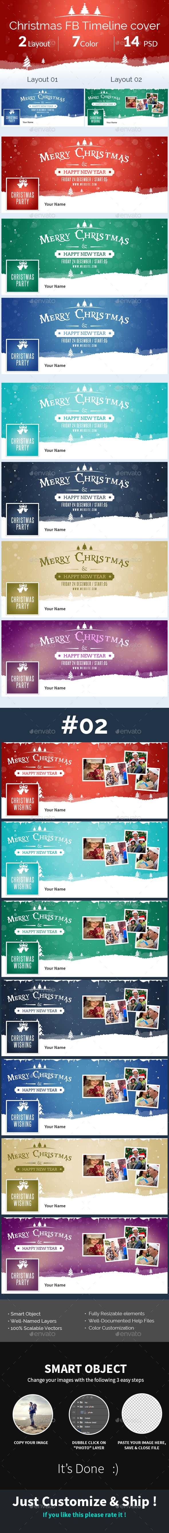 Marry Christmas FB Timeline Cover  - Social Media Web Elements