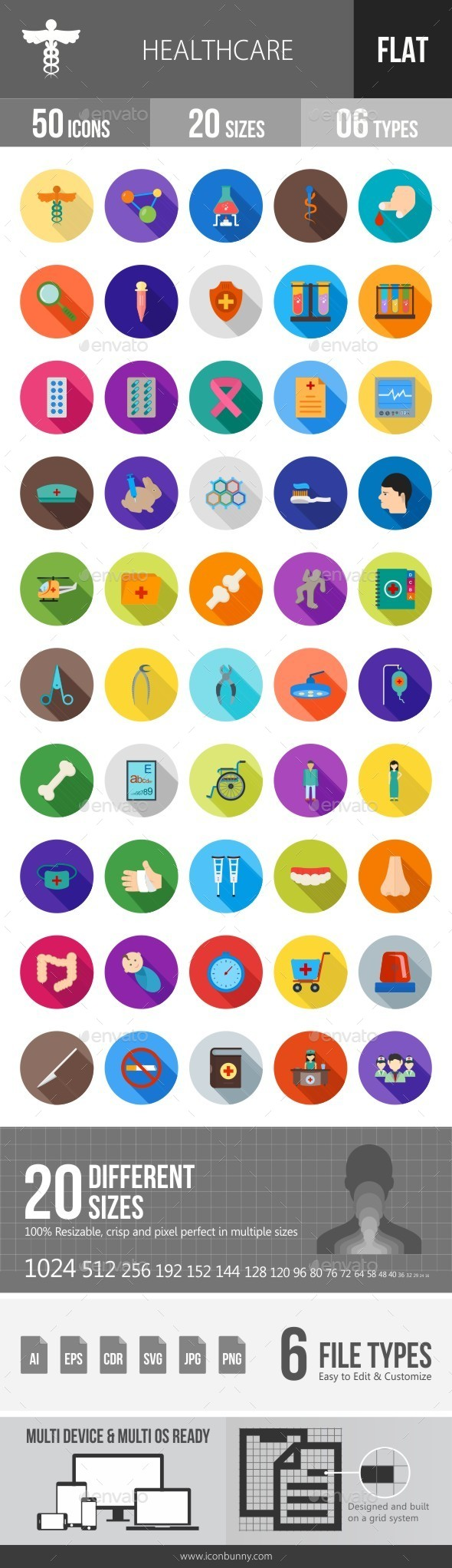 Healthcare Flat Shadowed Icons - Icons