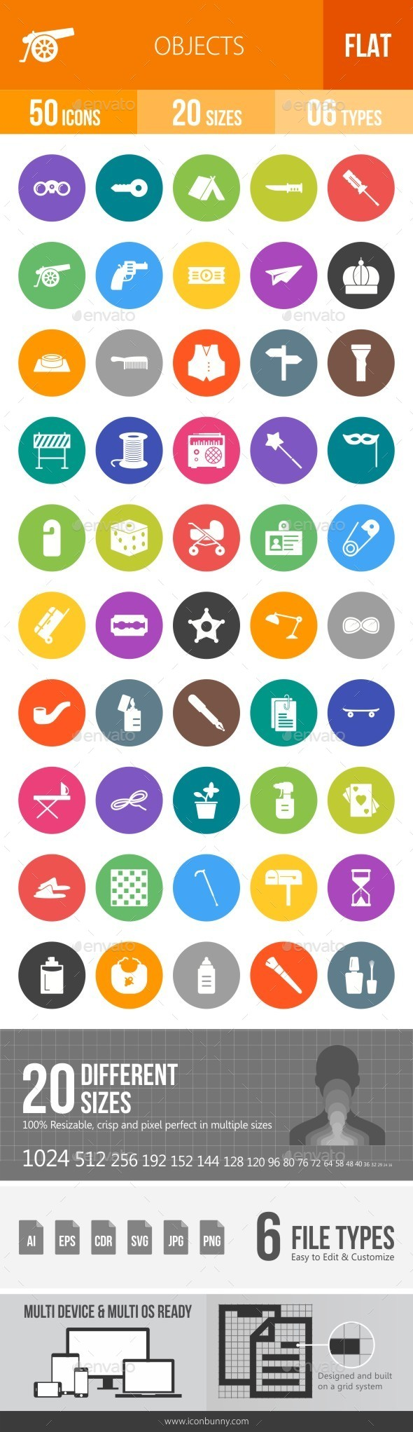Objects Flat Round Icons - Icons