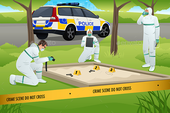 Forensic Working on a Crime Scene - People Characters