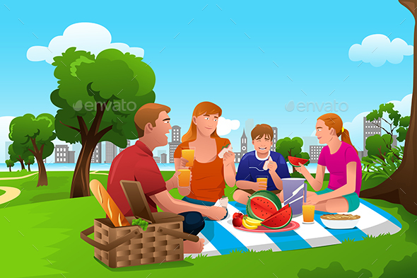Family Having a Picnic in the Park - People Characters
