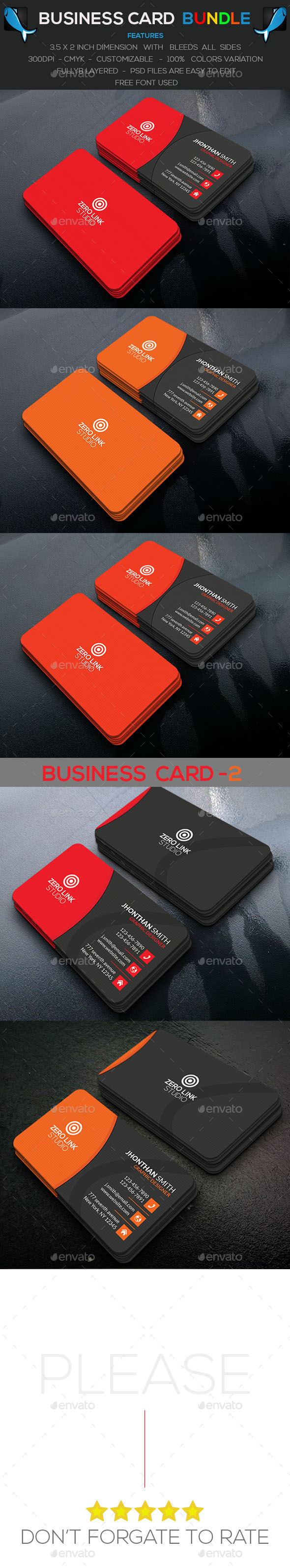 Corporate Business Card Bundle Color - Corporate Business Cards