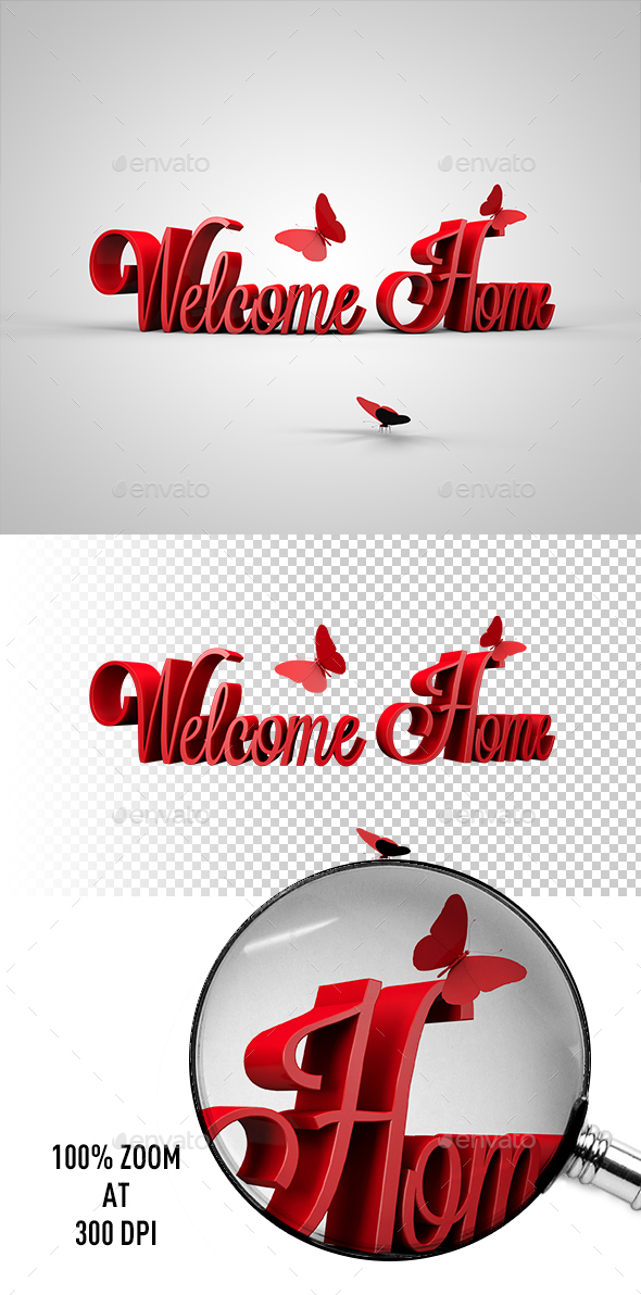 Welcome Home 3D Text - 3D Backgrounds