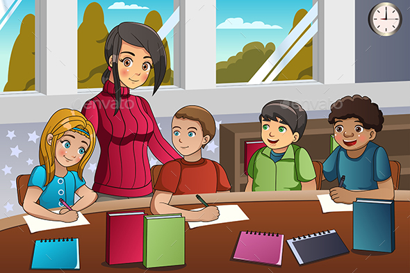 Student and Teacher in the Classroom - People Characters