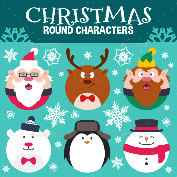 Round Flat Christmas Characters - Characters Vectors