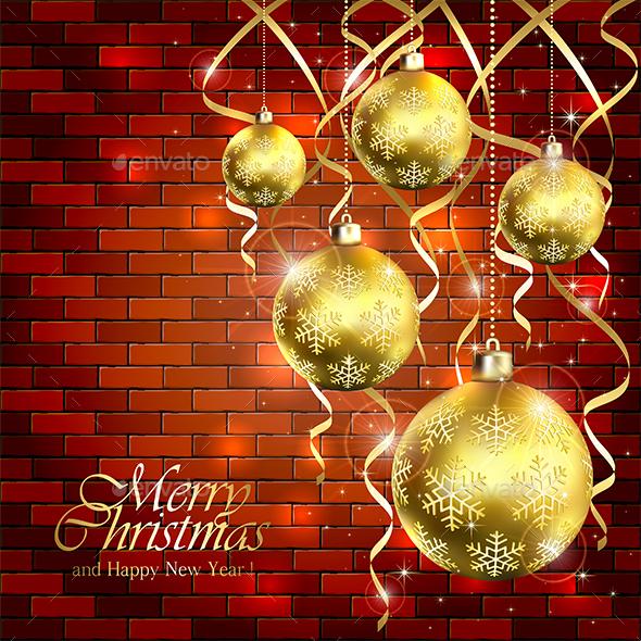 Golden Christmas Balls and Tinsel on a Brick Wall - Christmas Seasons/Holidays