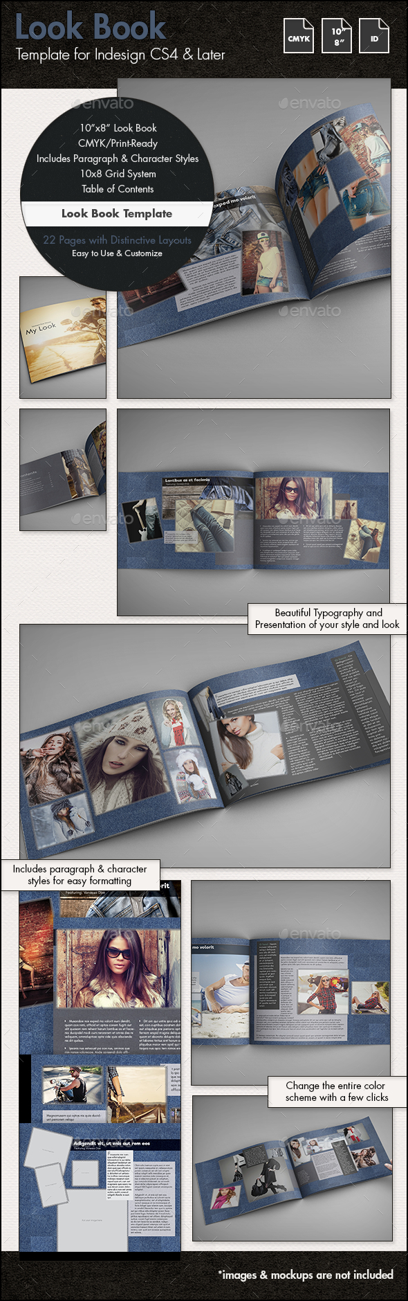 Fashion Lookbook Template - 10x8in - Photo Albums Print Templates