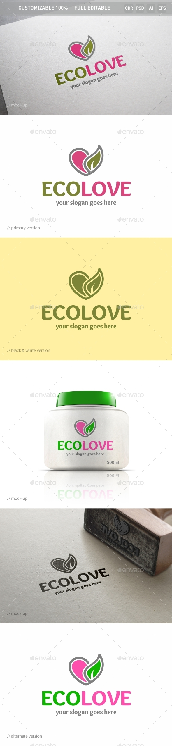 Eco Love Logo Template - Objects Logo Templates