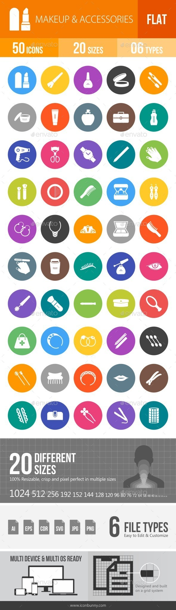 Makeup & Accessories Flat Round Icons - Icons