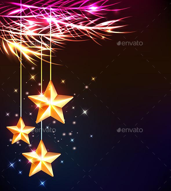 Shining Stars and Fir Tree - Christmas Seasons/Holidays