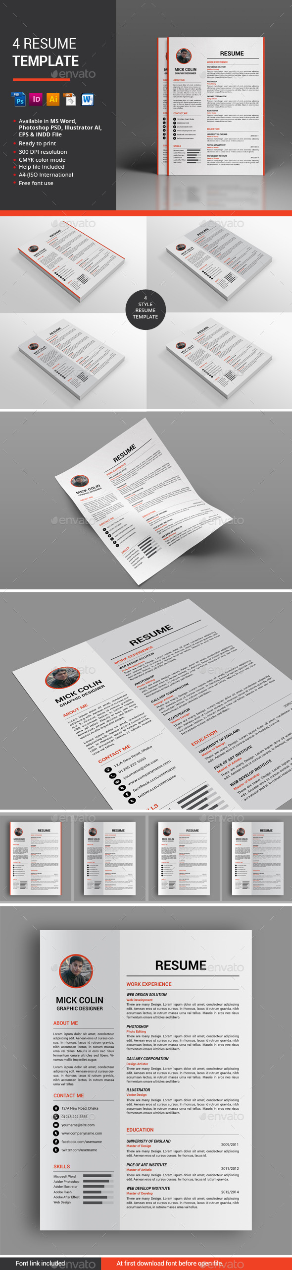 4 Resume Template - Resumes Stationery