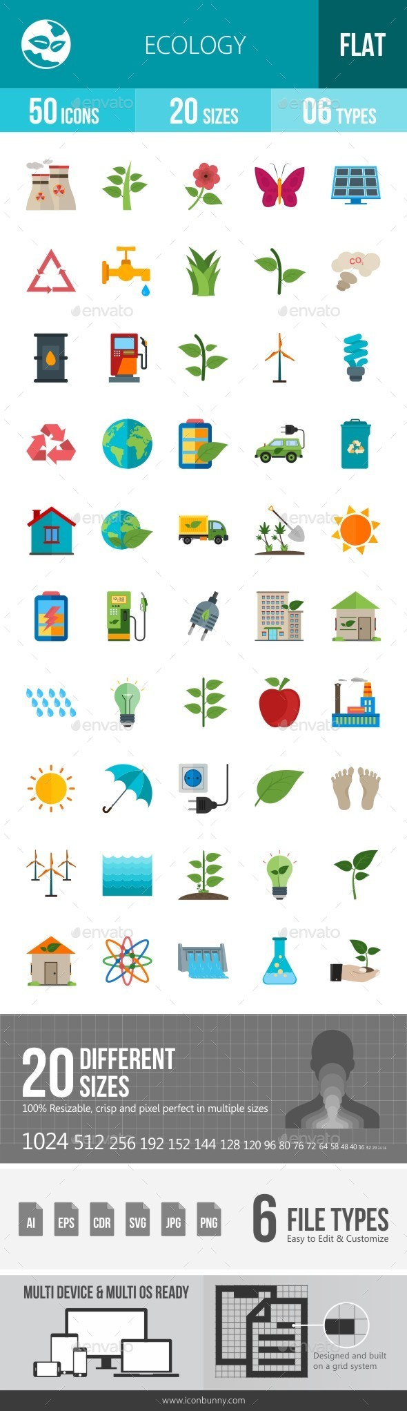 Ecology Flat Multicolor Icons - Icons