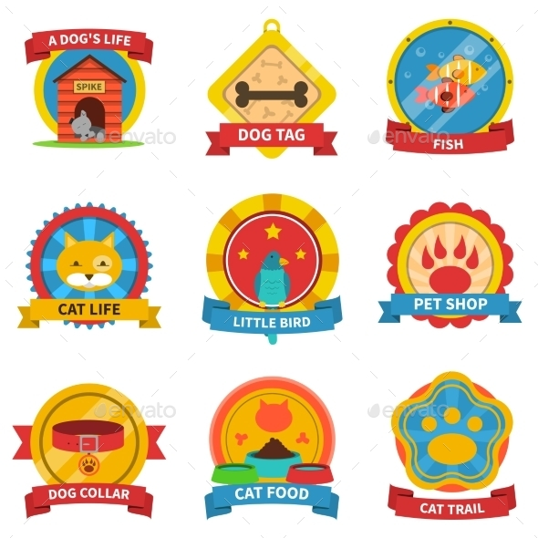 Pets Label Set - Animals Characters