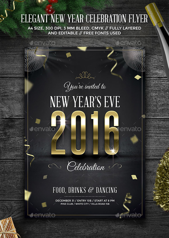 Elegant New Year Celebration Flyer - Holidays Events