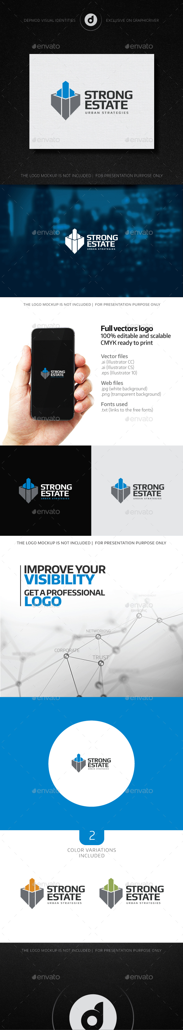 Strong Estate Logo - Buildings Logo Templates