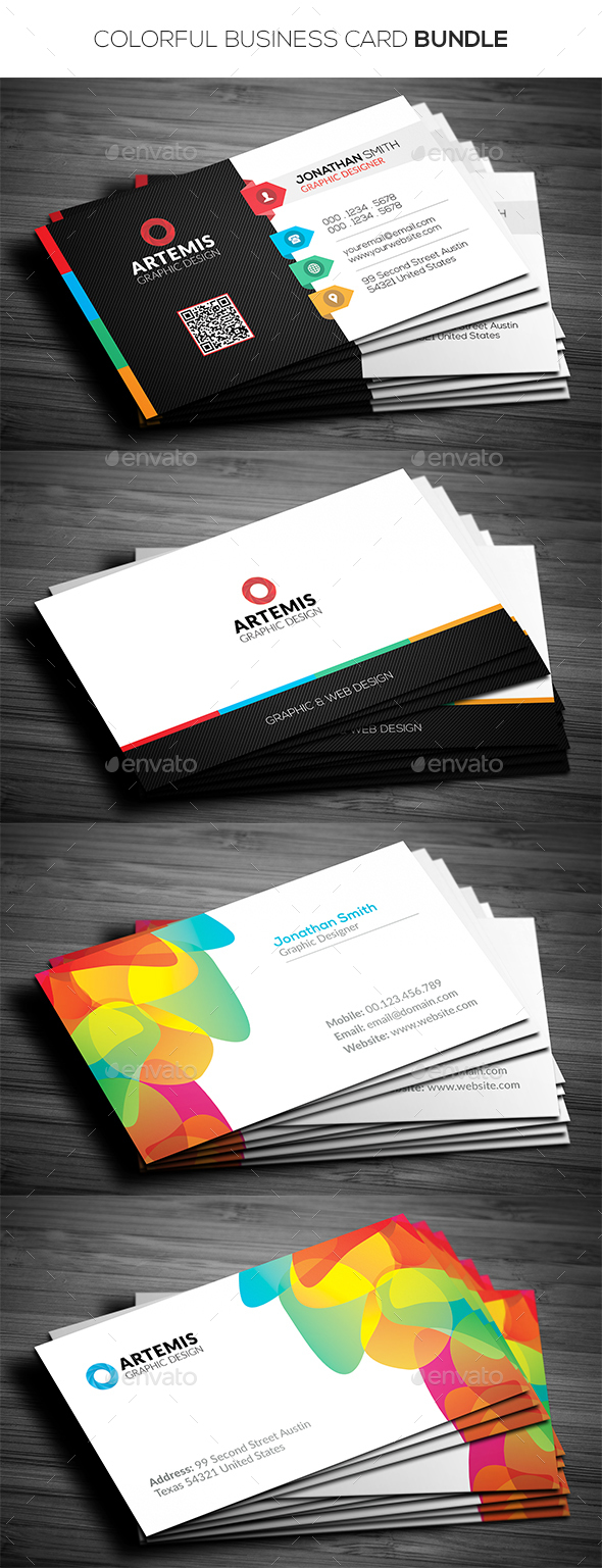 2 in 1 Colorful Business Card Bundle  - Corporate Business Cards