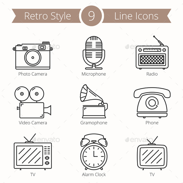 9 Retro Objects Line Icons - Man-made objects Objects