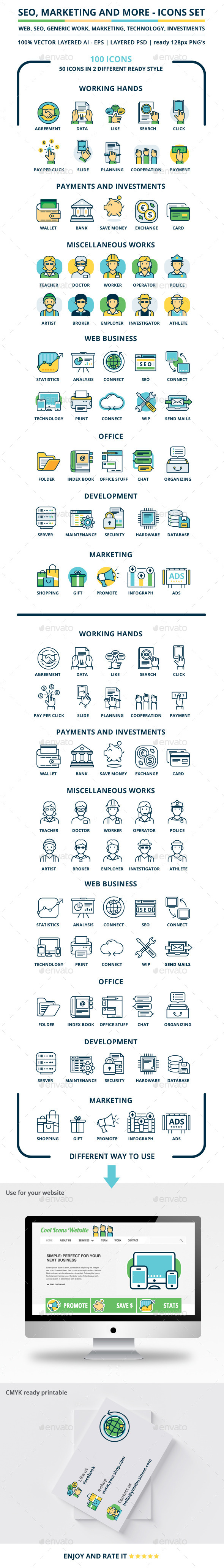 Seo, Marketing And More Icons Set - Web Icons