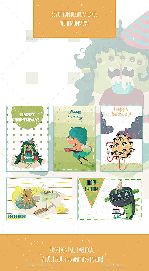 Monsters Birthday Cards - Monsters Characters