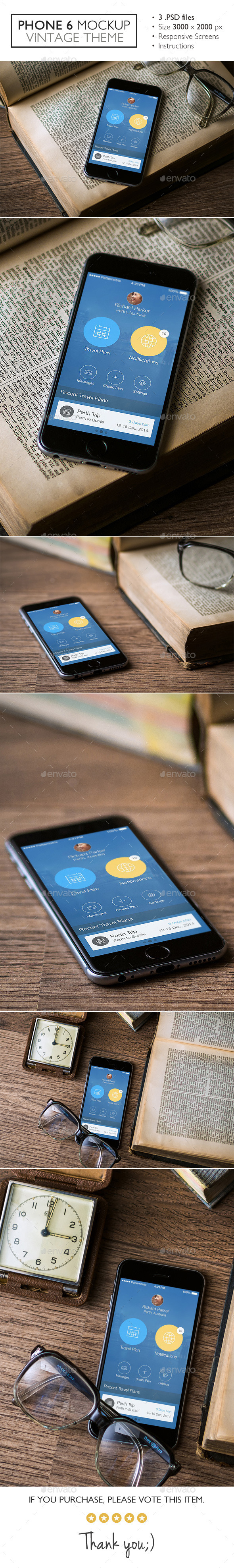 Phone 6 Mockup Vintage Theme - Product Mock-Ups Graphics