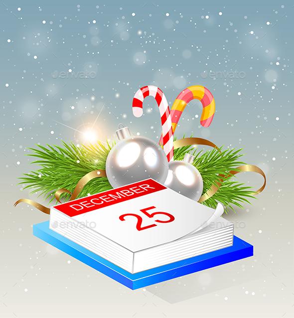 Christmas Background with Calendar - Christmas Seasons/Holidays