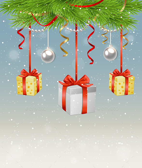 Green Fir Branch and Gifts - Christmas Seasons/Holidays