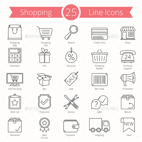 25 Shopping Line Icons - Business Icons