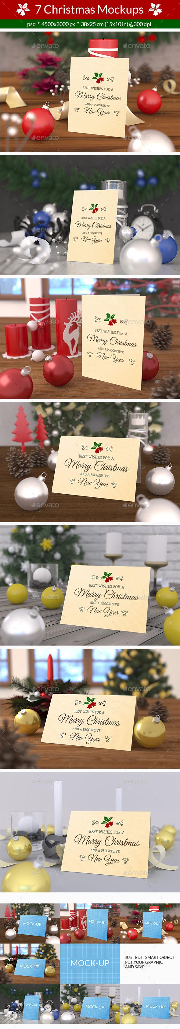 7 Christmas Card Mockups - Product Mock-Ups Graphics