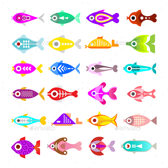 Aquarium Fish Vector Icons - Animals Characters