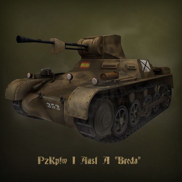 "PzKpfw I Ausf A ""Breda"" light tank - 3DOcean Item for Sale"