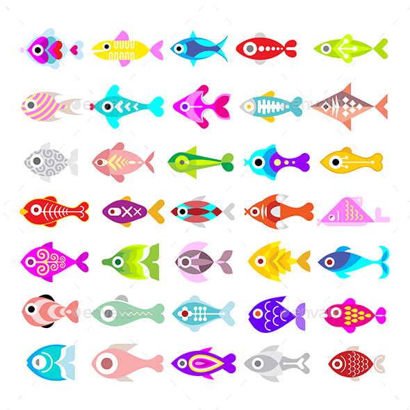 Fish Vector Icon Set - Animals Characters