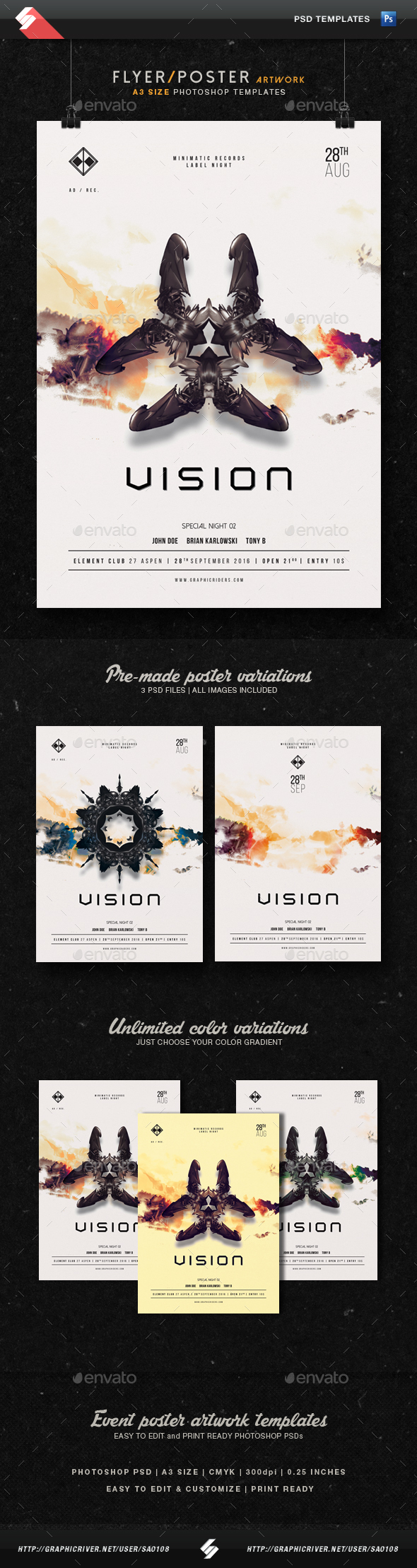 Vision - Trance Party Flyer Templates A3 - Clubs & Parties Events