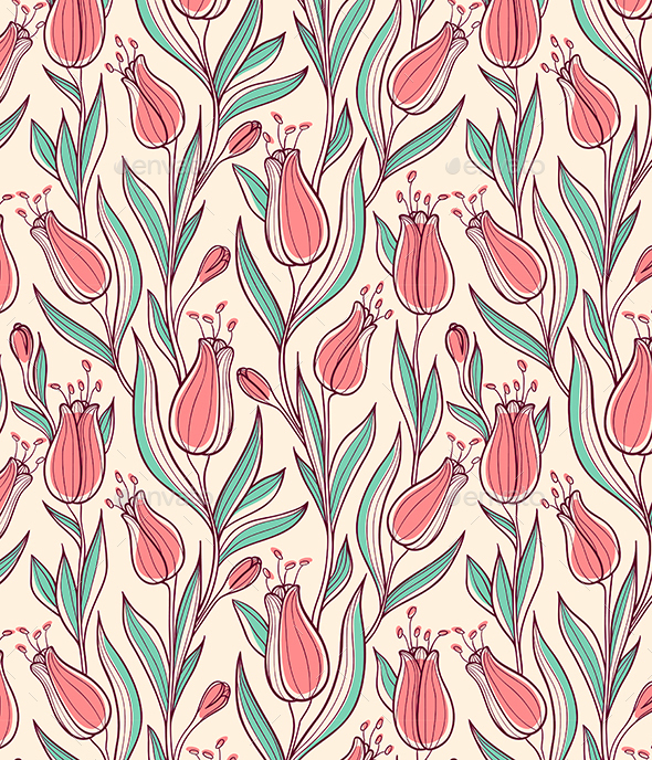 Seamless Pattern wit Tulips - Patterns Decorative