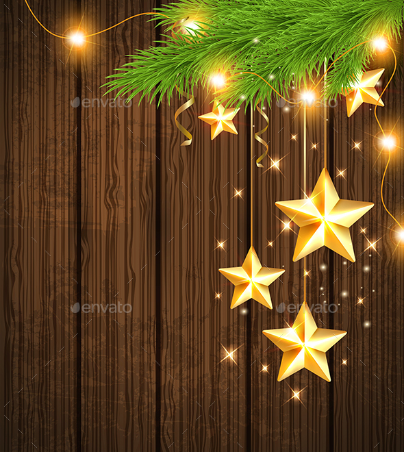 Christmas Background with Golden Stars  - Christmas Seasons/Holidays