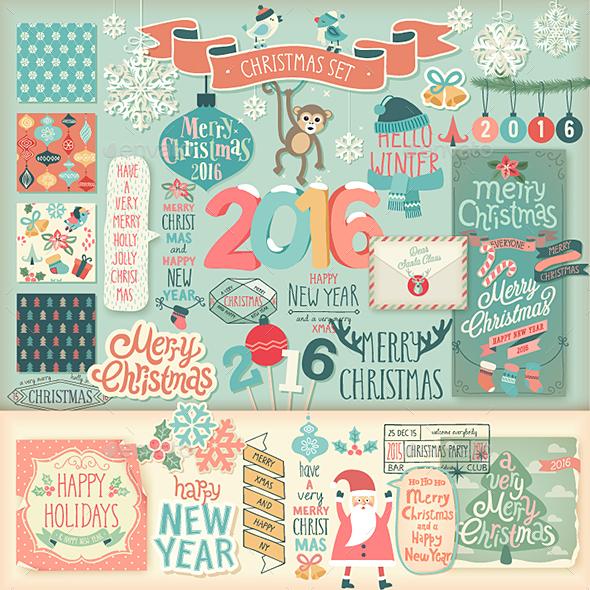Christmas Scrapbook Set - Decorative Elements. - Christmas Seasons/Holidays
