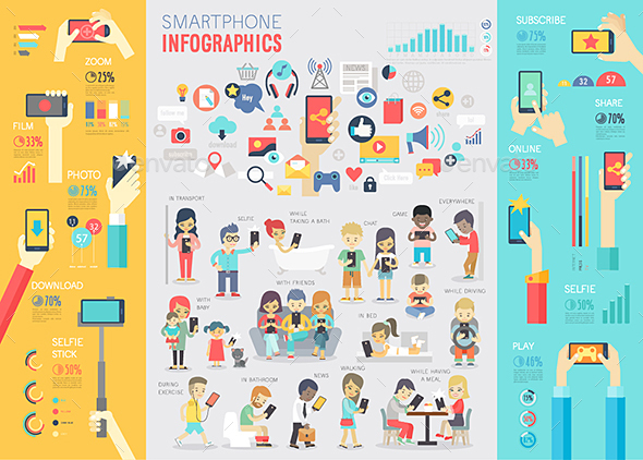 Smartphone Infographic Set. - Communications Technology