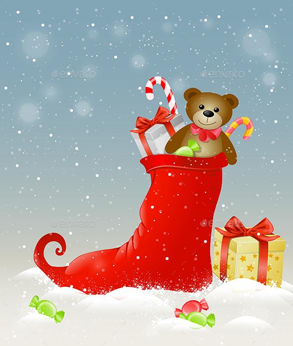 Red Sock and Christmas Gifts - Christmas Seasons/Holidays